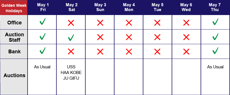 Golden Week Holidays 2020 schedule